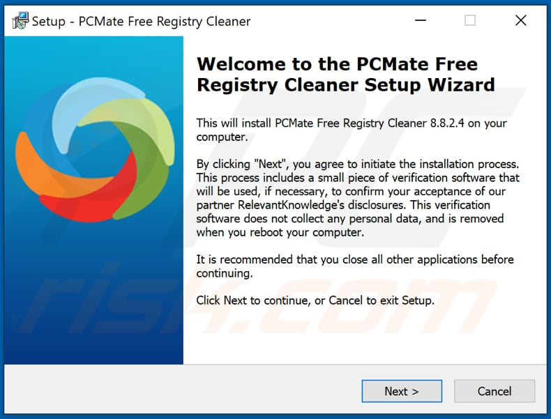 PCMate Free Registry Cleaner PUA installation setup