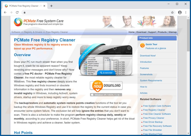 Website used to promote PCMate Free Registry Cleaner PUA