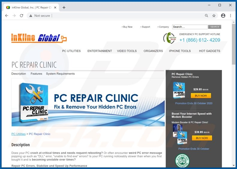 Website used to promote PCRepairClinic PUA