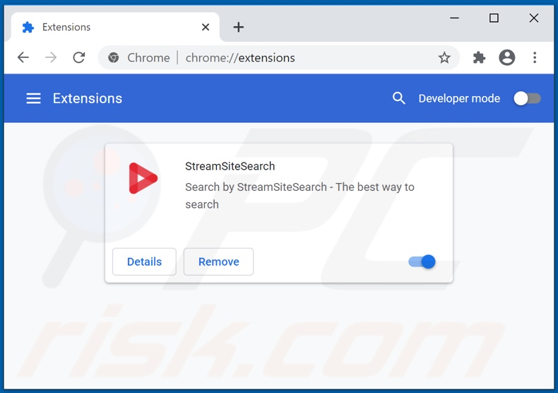 Removing streamssitesearch.com related Google Chrome extensions