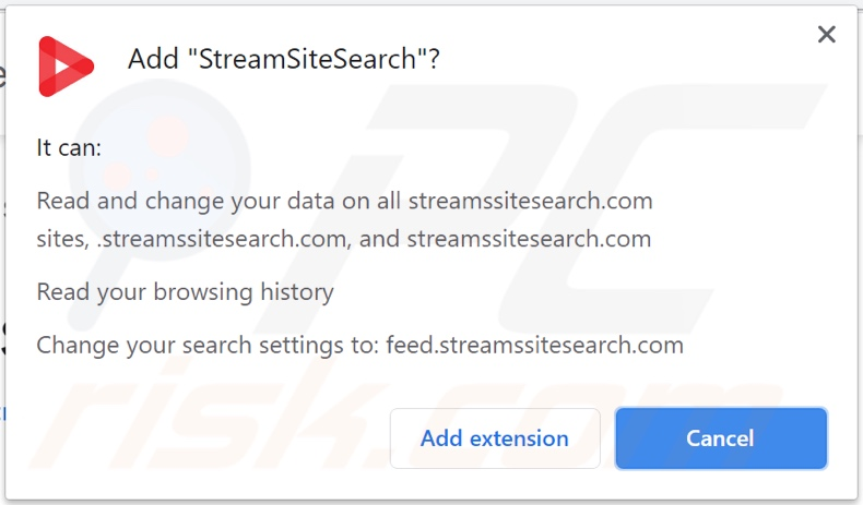 StreamSiteSearch browser hijacker asking for permissions