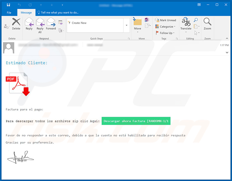 Spam email spreading Casbaneiro malware