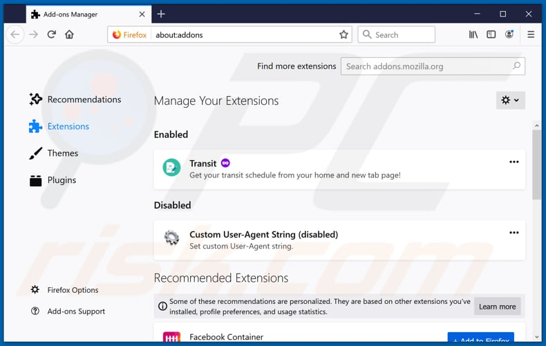 Removing covideosearch.com related Mozilla Firefox extensions