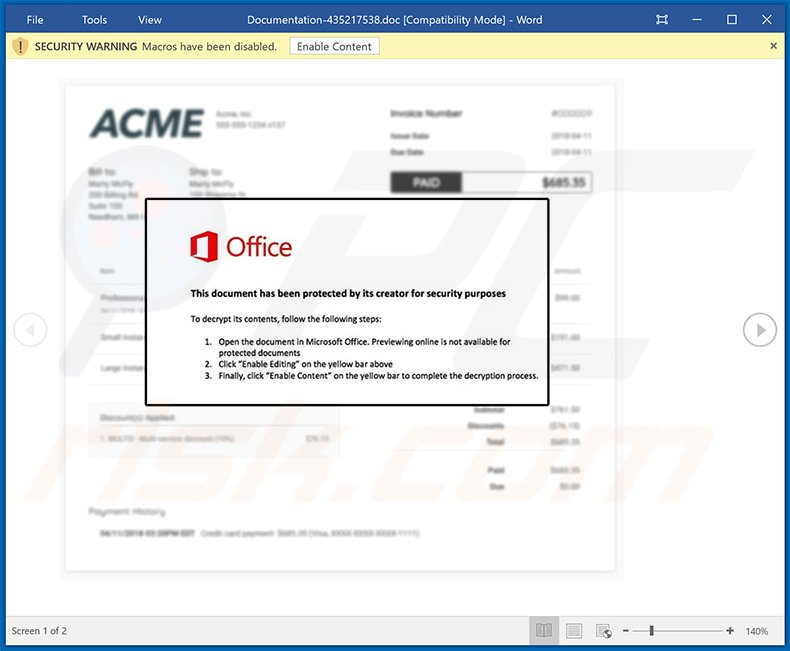Malicious MS Word document used to spread Dridex malware