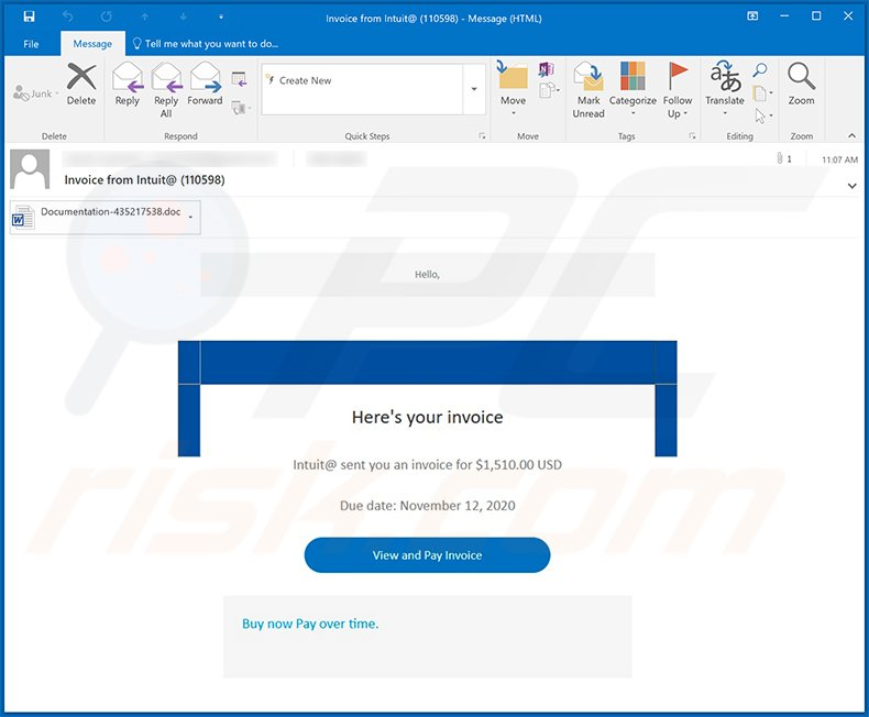 Invoice-themed spam email used to spread Dridex malware