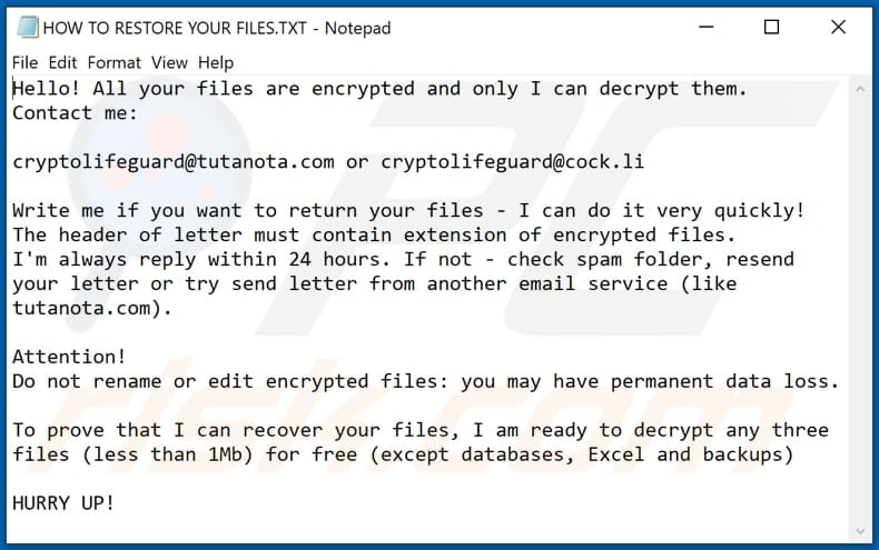 Dulgtv decrypt instructions (HOW TO RESTORE YOUR FILES.TXT)