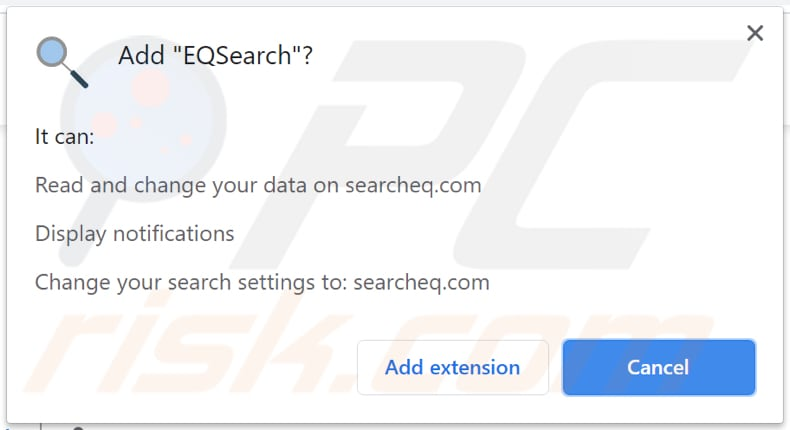 eqsearch browser hijacker notification
