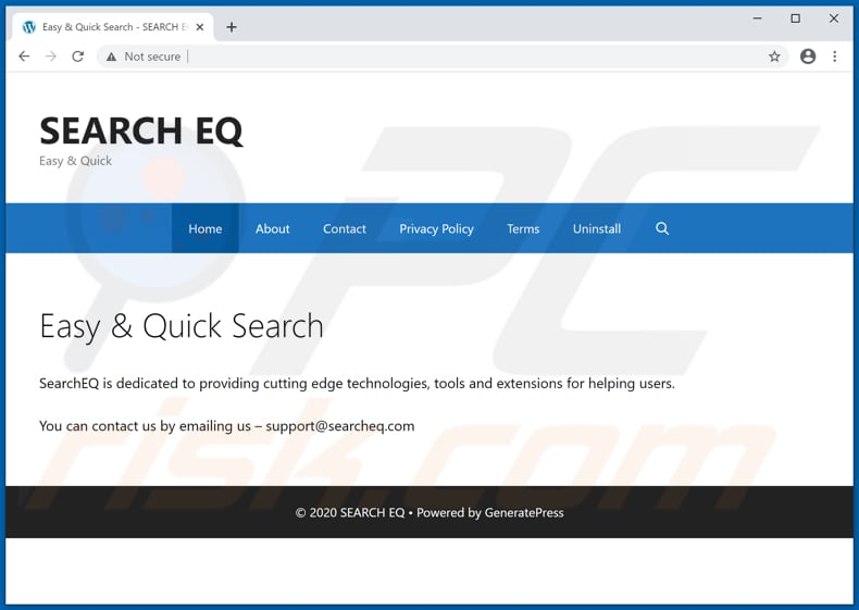 Website used to promote EQSearch browser hijacker