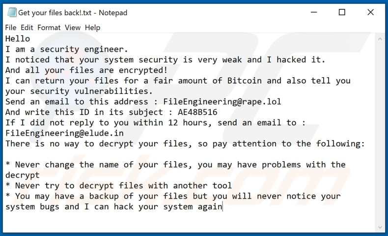 FileEngineering decrypt instructions (Get your files back!.txt) second variant