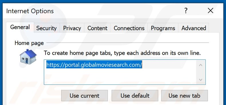Removing globalmoviesearch.com from Internet Explorer homepage