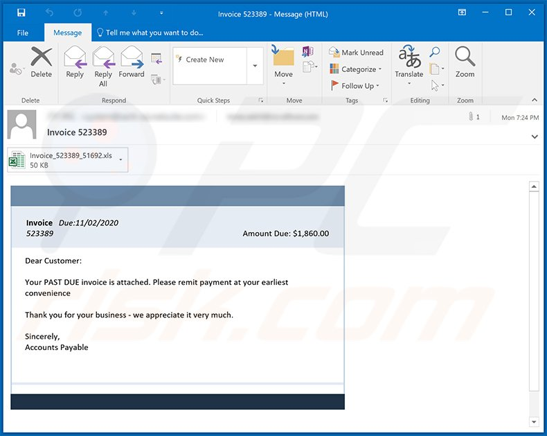 Invoice-themed spam email used to distribute a malicious MS Excel document (2020-11-03)