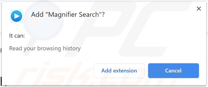 Magnifier Search browser hijacker asking for permissions