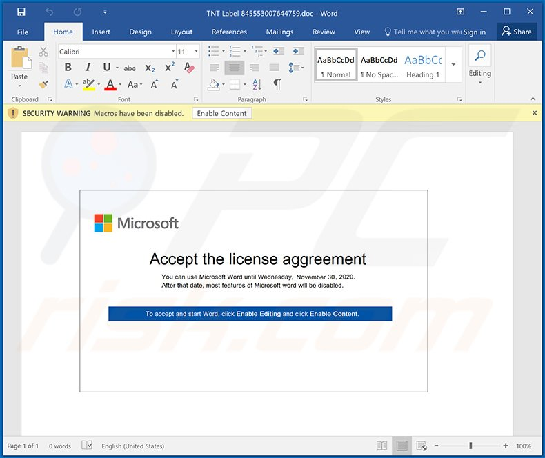 Malicious MS Word document used to inject MassLogger malware (2020-11-25)