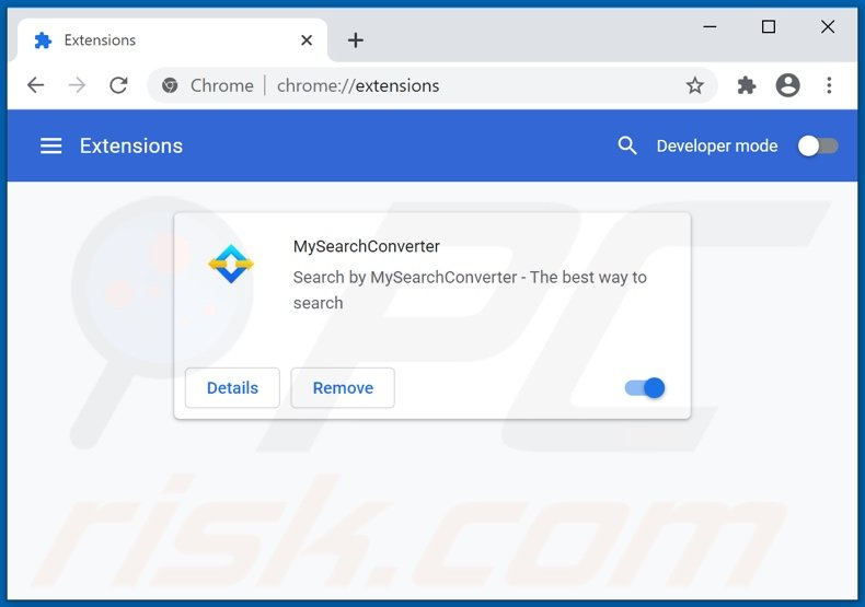 Removing mysearchconverter.com related Google Chrome extensions