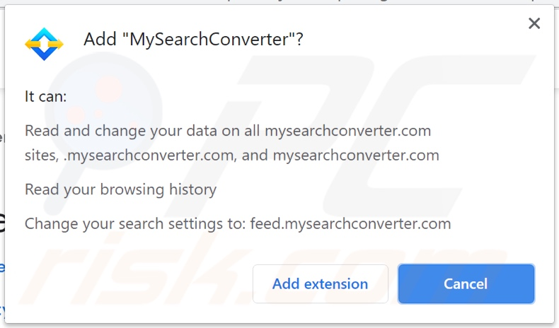 MySearchConverter browser hijacker asking for permissions