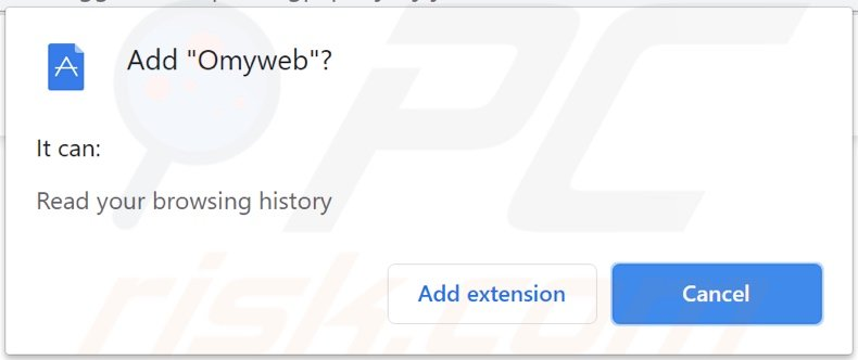 Omyweb browser hijacker asking for permissions