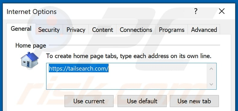 Removing tailsearch.com from Internet Explorer homepage