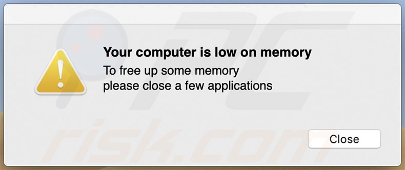 Your computer is low on memory fake pop-up window delivered by a rogue installer promoting searchmarquis.com
