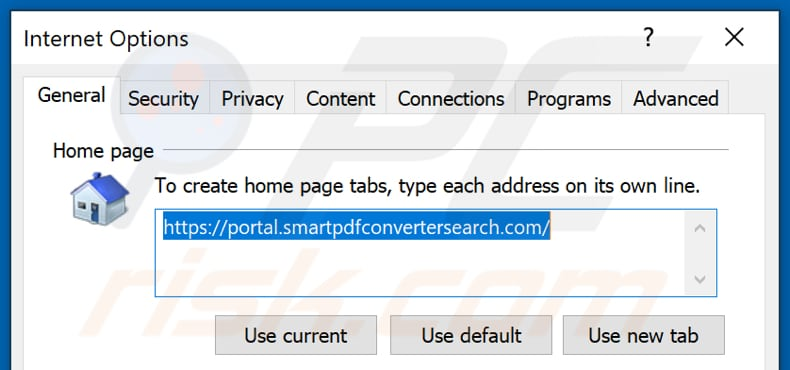 Removing smartpdfconvertersearch.com from Internet Explorer homepage