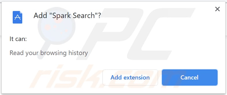 spark search browser hijacker notification