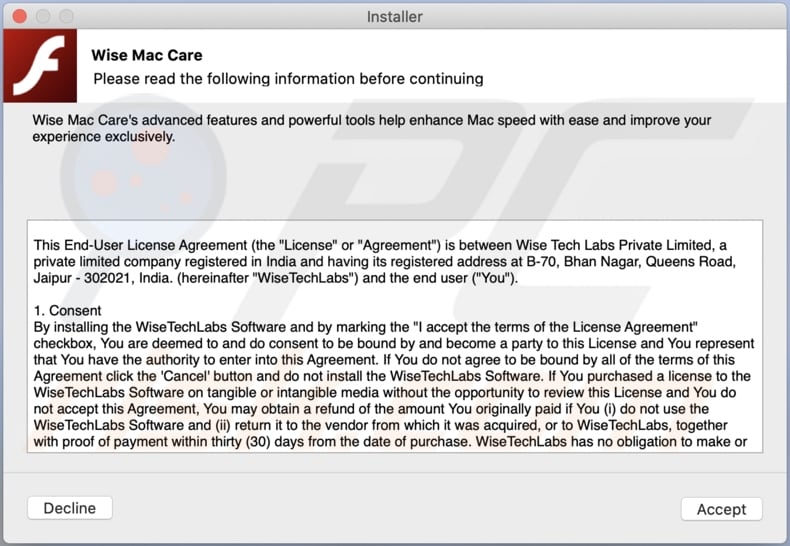 wise mac care unwanted application deceptive installer