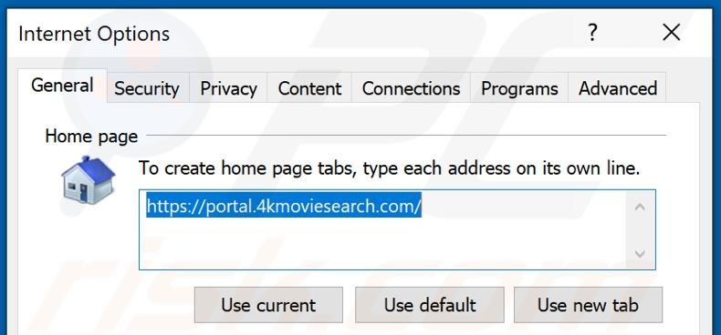 Removing 4kmoviesearch.com from Internet Explorer homepage