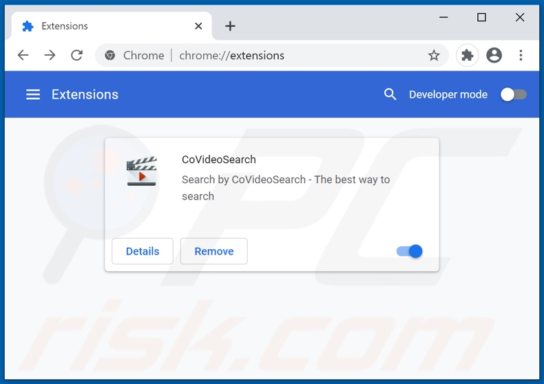 Removing covideosearch.com related Google Chrome extensions