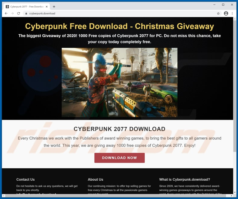 cyberpunk 2077 virus download page for malicious game installer
