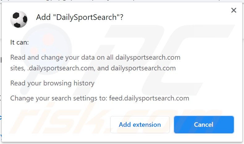 DailySportSearch browser hijacker asking for permissions