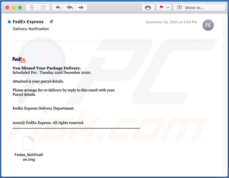 FedEx Express-themed spam email used to spread LokiBot malware