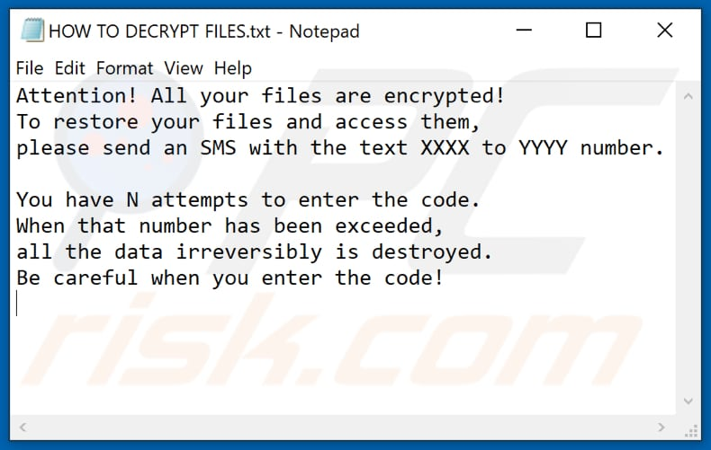Lockedfile ransomware text file (HOW TO DECRYPT FILES.txt)
