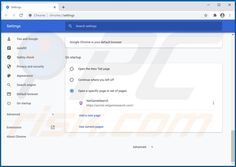 Removing netgamesearch.com from Google Chrome homepage