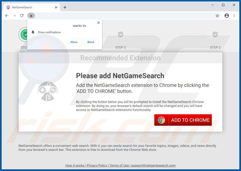 Website used to promote NetGameSearch browser hijacker