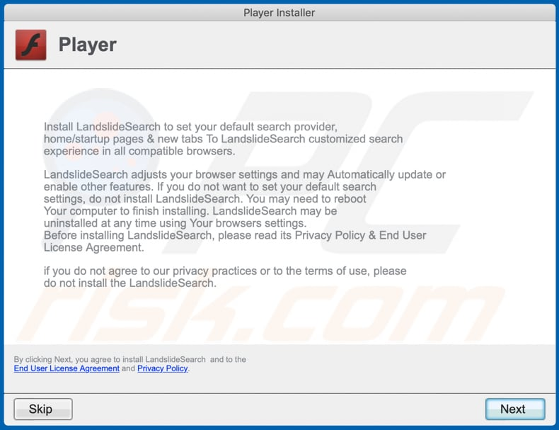 fake installer used to distribute publicfraction adware