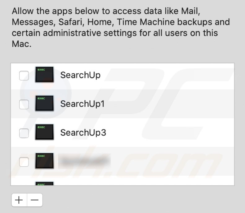 SearchUp adware asking permission for full disk access