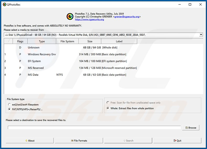 PhotoRec restoration tool for Stop/Djvu ransomware