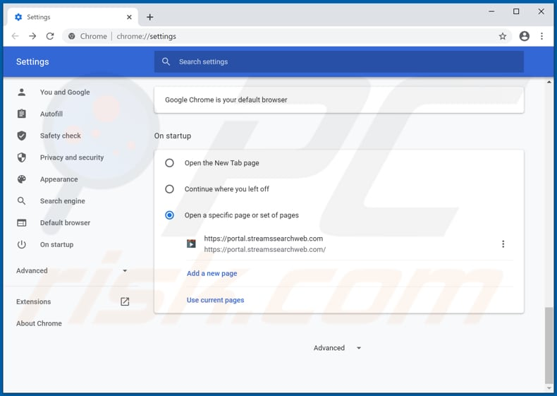Removing streamssearchweb.com from Google Chrome homepage