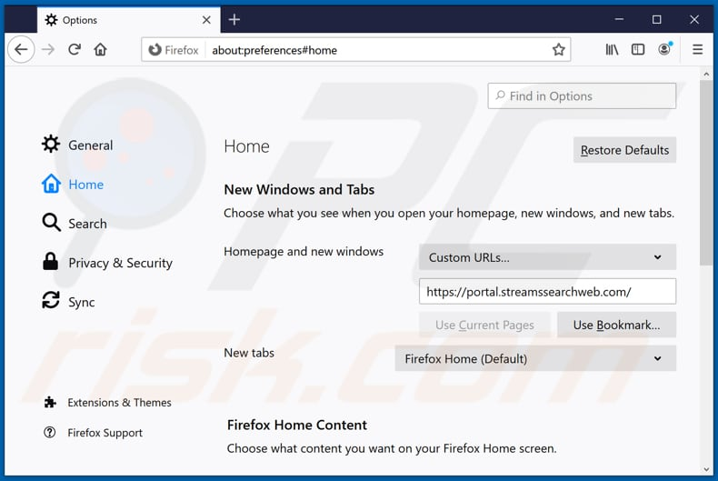 Removing streamssearchweb.com from Mozilla Firefox homepage