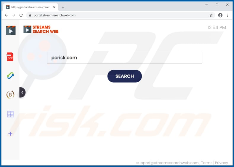 streamssearchweb.com browser hijacker