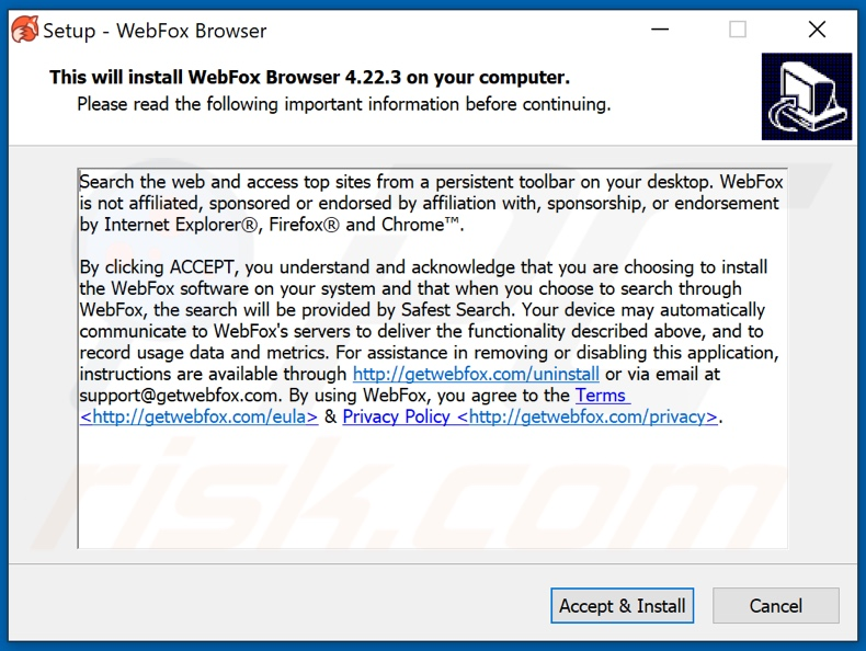 WebFox rogue browser installer