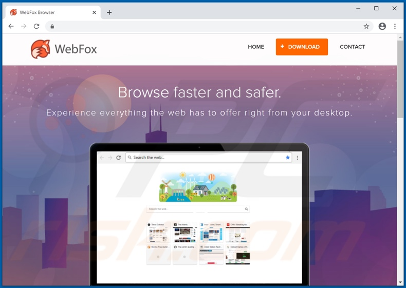 Website used to promote WebFox PUA