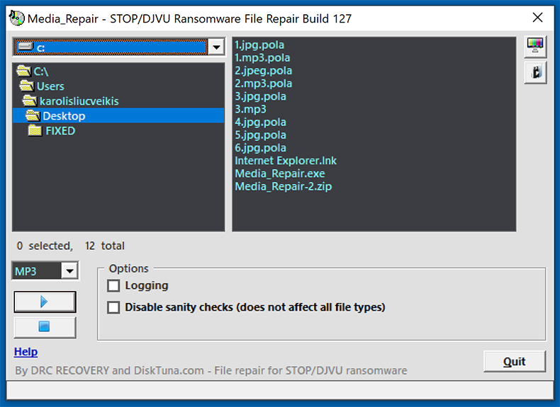 Media_Repair application by DiskTura restoring audio/video files encrypted by Stop/Djvu ransomware