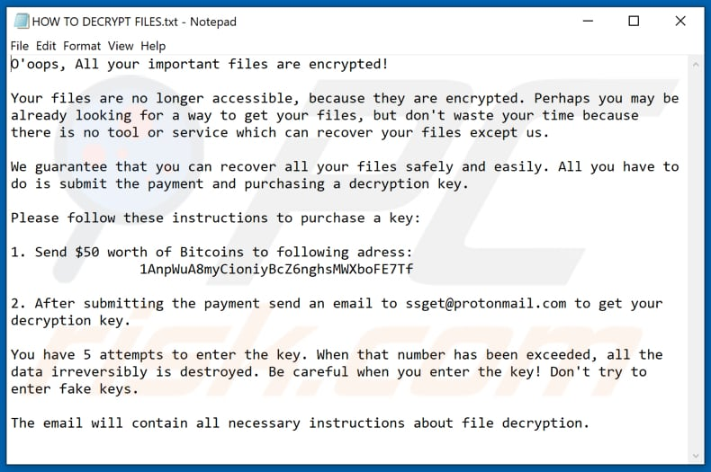 EnCryp13d ransomware text file (HOW TO DECRYPT FILES.txt)