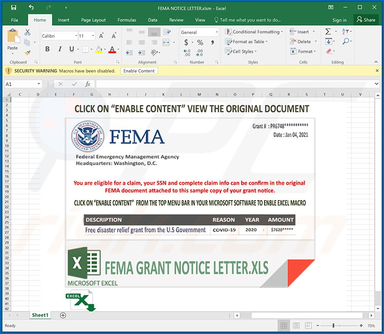 Malicious MS Excel document used to inject FormBook malware into the system