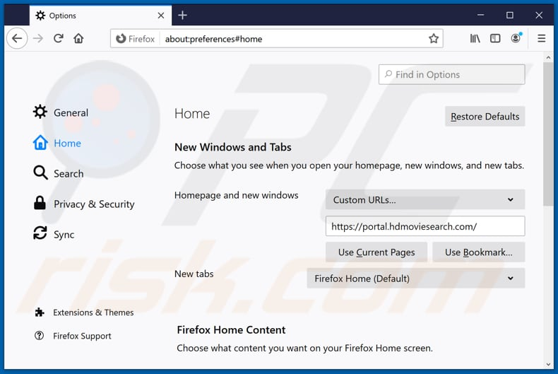 Removing hdmoviesearch.com from Mozilla Firefox homepage