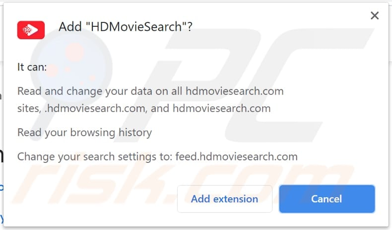 hdmoviesearch browser hijacker notification