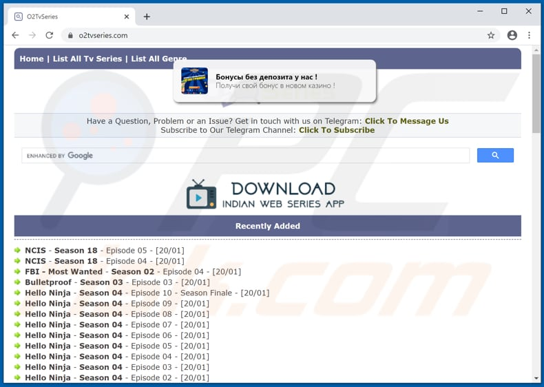 o2tvseries[.]com pop-up redirects