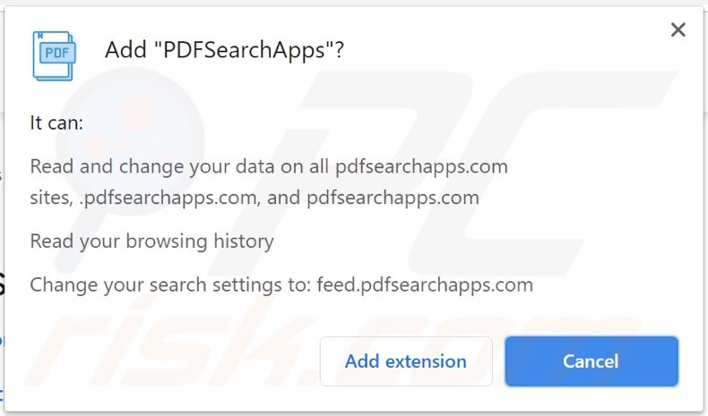 PDFSearchApps browser hijacker asking for permissions