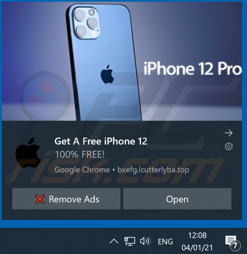 win the new iphone 12 pop-up scam browser notification delivered by lcutterlyba top promoting this scam