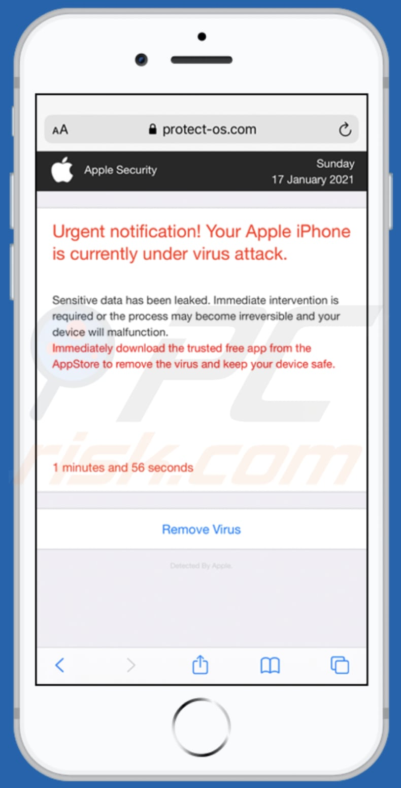 Your Apple iPhone is currently under virus attack scam
